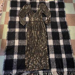 Vtg climax Karen Okada sequin puff shoulder gown